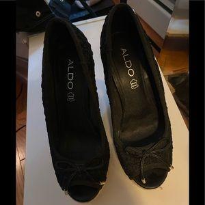Black Aldo Crochet Wedge heels